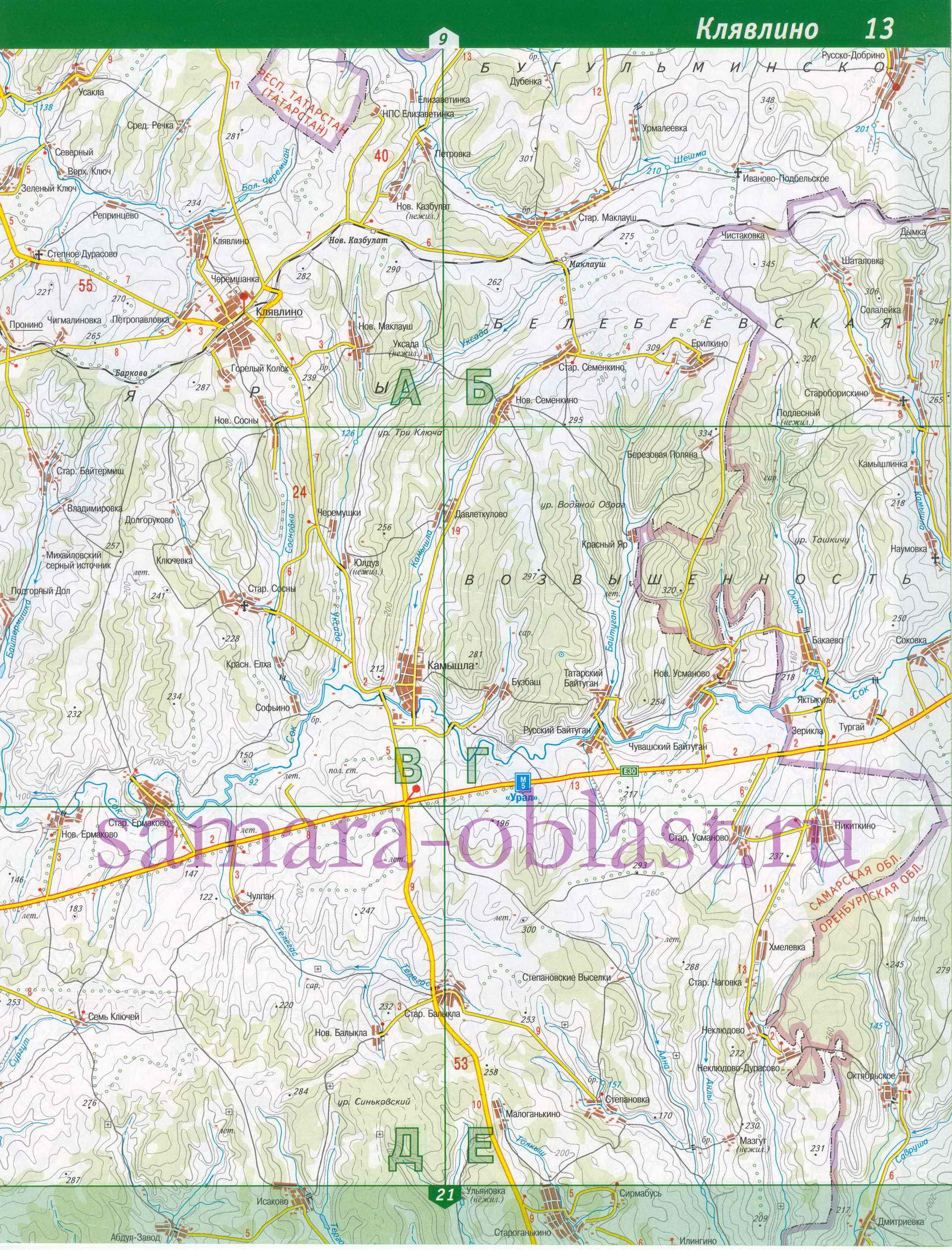Карта Клявлинского района.  Подробная схема дорог - Клявлинский район.